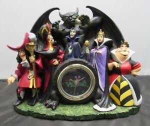 Vintage Disney Villains Mantle Desk Clock, Hook Maleficent Evil Queen Fantasia