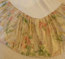 *Ralph Lauren Theresa Kathleen Sateen Pink/Green Floral King Bed Skirt*