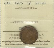 1925 Small Cent ICCS EF-40 ** RARE Date LOWEST Mintage KEY George V Canada Penny