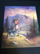 "Brave W/ Wolf & Eagle Large 16 X 20"" Picture Print New In Lithograph"