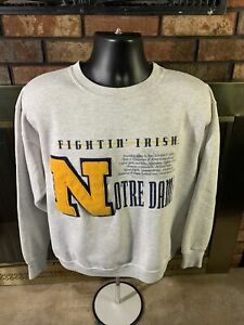 Vintage Notre Dame Fighting Irish Football NCAA Crewneck Sweatshirt Mens Large