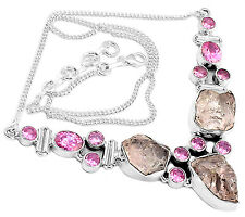 27g Morganite Rough & Pink Kunzite 925 Sterling Silver Necklace Jewelry SN15716