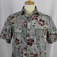 Hilo Hattie Aloha Hibiscus Palm Coconut Cotton Hawaiian Shirt Sz S EUC