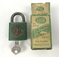"Vintage ILCO Green Cylinder Padlock NO 320G 1 1/2"" Lock w/ Key in Original Box"
