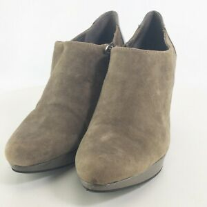 "Bandolino Womens Green Suede Round Toe 3.5"" Kitten Heel Booties Size US 8.5 M"