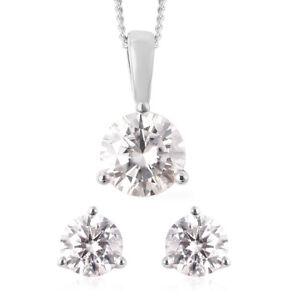 "925 Sterling Silver Moissanite Stud Earrings Necklace Pendant 18"" Set Ct 1.8"