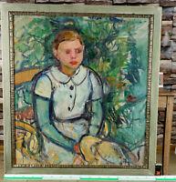 antikes Ölgemälde Portrait Mädchen auf Stuhl mit Sommerhut expressiv akademisch