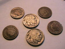 Lot (2) of 6 Nice Indian Heads 4 Pennies and 2 Nickles One & Five Cent USA Coins