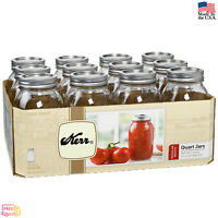 12 PACK 32 oz Mason Quart Jars with Lids and Bands Regular Mouth Kerr