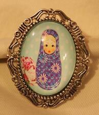 Floral Russian Nesting Doll Brooch Pin Lovely Etch Swirl Rim Silvertn Cadet Blue
