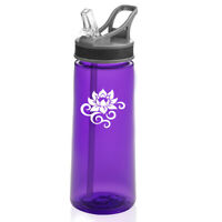 22 oz Sports Water Bottle With Straw Lotus Flower Scroll