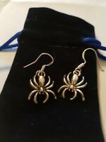 Silver Spider Earrings Hallmarked 925 Sterling Silver earwires. in Velvet Pouch