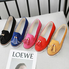 Women Casual Shoes Round Head Shallow Tassel Pendant Lazy Loafers Anti-slip Sz