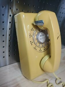 Vintage Bell System Western Electric Rotary Dial Yellow Wall Phone Oklahoma 918