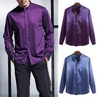 Men Collarless Shirt Party Shinny T Shirt Stain Silk Long Sleeve Tops Tee Blouse