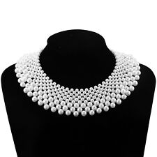 False White Pearl Collar Statement Necklace Handmade Braided Choker Women Gift