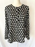 Ann Taylor Womens Top Blouse Size S Black White Crew Neck Buttons Long Sleeve