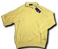 500$ Ralph Lauren Purple Label Yellow Cotton Sweater Size XL Made in Italy