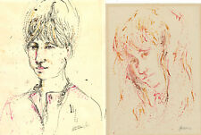 Peter Collins ARCA - A Set of 5 c.1970s Pen and Ink Drawings, Female Portraits