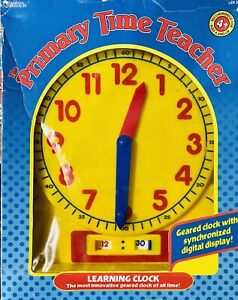 Vintage The Primary Time Teacher Large Learning Clock By Learning Resources 2092