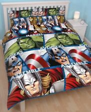 Marvel Avengers Shield Double Duvet Cover Set Hulk Thor Iron Man Captain America