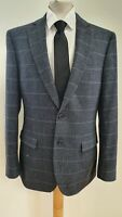 L918 MENS M&S 03727263 BLUE GREY CHECK WOOL BLEND BLAZER JACKET UK M EU 50
