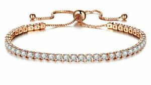 Toggle Rose Gold Pl White Made With Swarovski Crystal Tennis Chain Link Bracelet