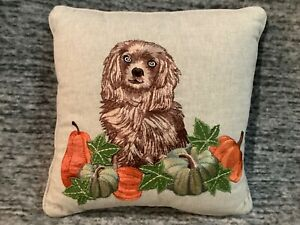 "Pier 1 Imports Harvest Embroidered Reggie the Dog Pumpkin Pillow 12"" x 12"" NWT"