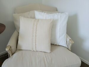 Natural Cotton Slub Pillow Cover with Center Ruffle Accent - Shabby Chic
