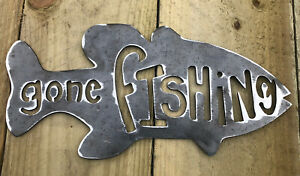 Gone Fish Metal Sign Wall Art CNC Sign Decor Metal Plague Interior Design