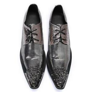 Mens Fashion Metal Head Pointy Toe Lace Up Leather Shoes Party Shine Dress DND