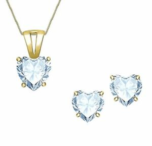 "Aquamarine Birthstone Solitaire Earring & Pendant Box Set With Free 18"" Chain"
