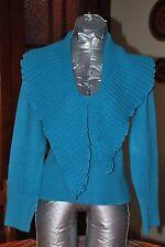 Pull mode bleu turquoise Col châle original Manches longues Taille S TB Etat!