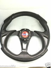 Universal Racing Rally Drifting Style 320mm Black Leather Flat Steering Wheel