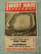 West Ham Speedway 1949 Original Programme v Harringay. 19th April. 2nd Meeting