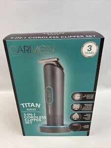 Carmen Titan Cordless 3 In 1 Cordless Hair Beard Clipper Titanium Trimmer Set