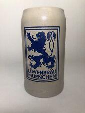 Vintage German Beer Stein Lowenbrau Muenchen 1 Liter Stoneware Glazed