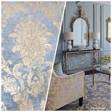 Designer Velvet Chenille Burnout Damask Upholstery Fabric - Blue & Gold