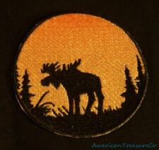 Embroidered Sunset Bull Moose Silhouette Ombre Circle Patch Iron On Sew On USA