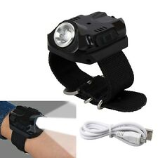 US Rechargeable Tactical Wrist Watch LED Q5 Flashlight Torch Compass Light 500LM