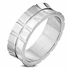 Stainless Steel Silver Square Cube Concave Band Ring Size US 12 AU X