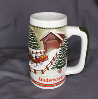 1984 Budweiser Holiday Beer Stein Mug Hitch Covered Bridge Snow Horses Vintage