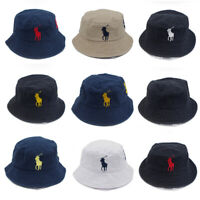 Men Unisex Polo Embroidery Bucket Hat 9 Colors Big Pony Number 3 Casual Cap