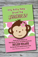 MOD MONKEY GIRL Thank You Cards Baby Shower Printable 1st Birthday Party U Print
