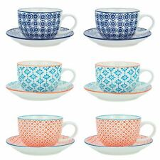 Cappuccino Cups and Saucers Set Coffee Tea Porcelain 250ml - 3 Patterns - x6