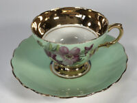Vintage Rosina Teacup & Saucer Pink Yellow Flowers Heavy Gold Bone China England