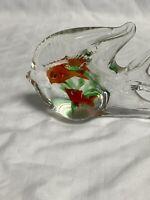Vintage Hand Blown Art Glass Fish Figurine With Aquarium Inside Multicolored
