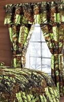 5 PC CURTAIN VALANCE SET LIME CAMO!! CAMOUFLAGE THE WOODS
