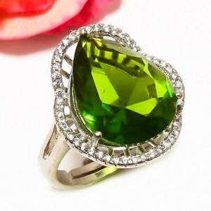 Peridot, White Topaz 925 Strerling Silver Solitare Ring Adst. 685298) R685298_R