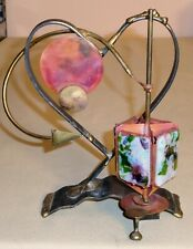 Vintage Brass Copper Art Glass Plaques Hanukkah Dreidel דריידל Spinner 391Ii